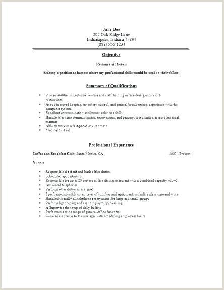 resume for a restaurant – wikirian