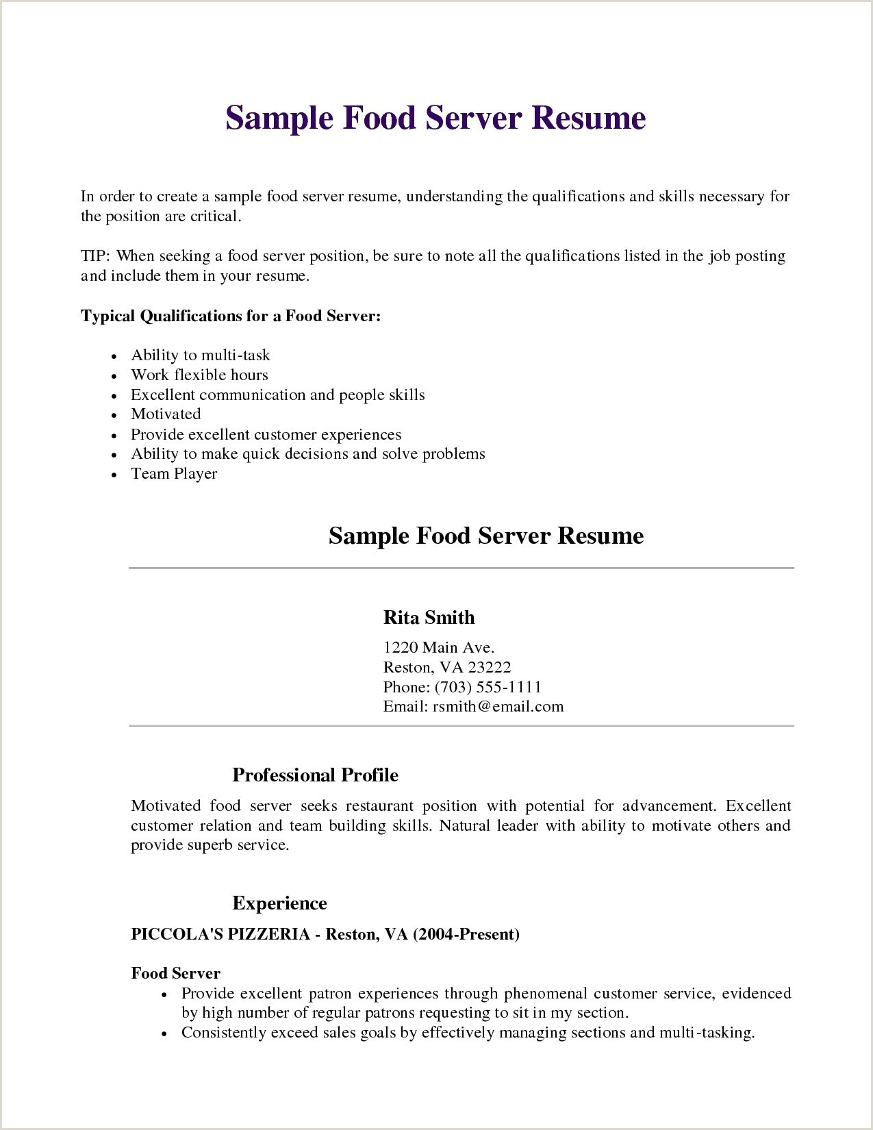 10 How To Put Server Resume