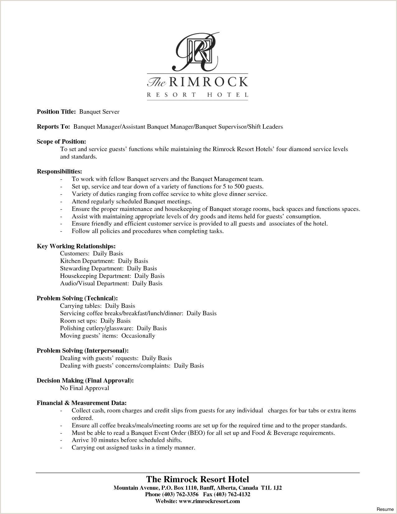 Restaurant Resume Server 54 New Image Sample Resume for Restaurant Crew