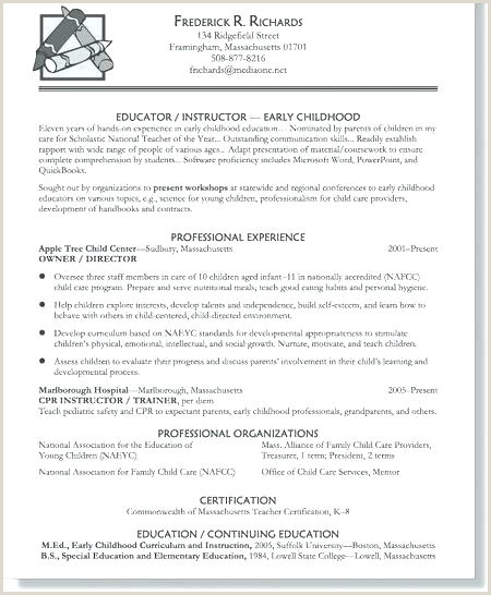 Resume Child Care Educator Educational Resume Templates – Growthnotes