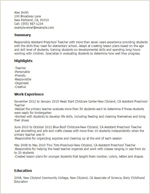 Resume Early Childhood Education assistant Teacher Resume – Kizi Games