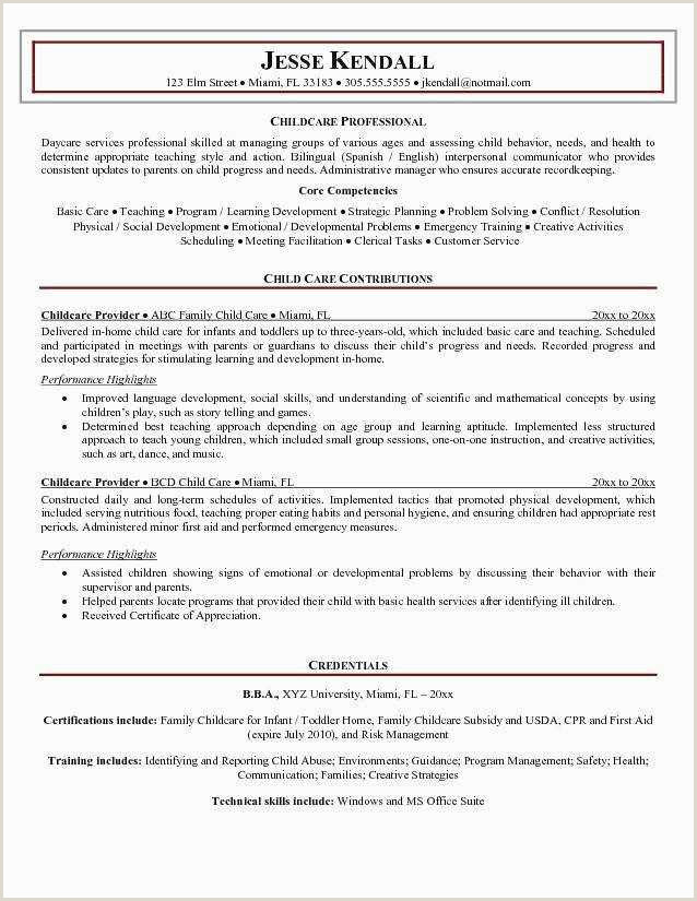 Resume Early Childhood Education Child Care Resume Template New Child Care Resume Objective