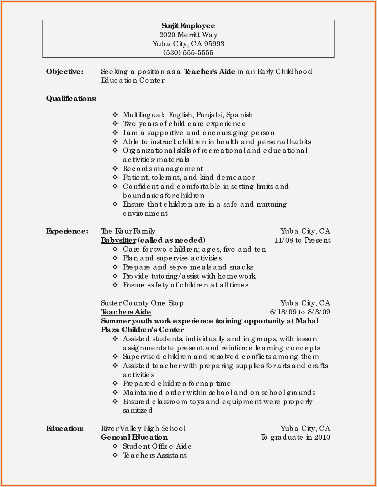 New Early Childhood Education Resume Examples