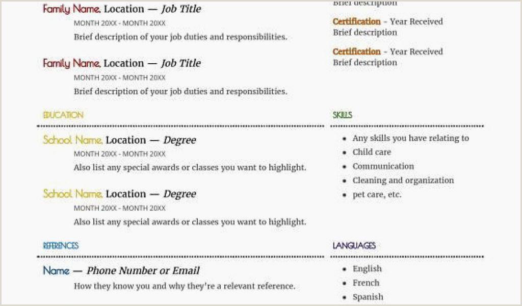 Asl Unique Babysitter Resume 0d Resume Nannying Resume