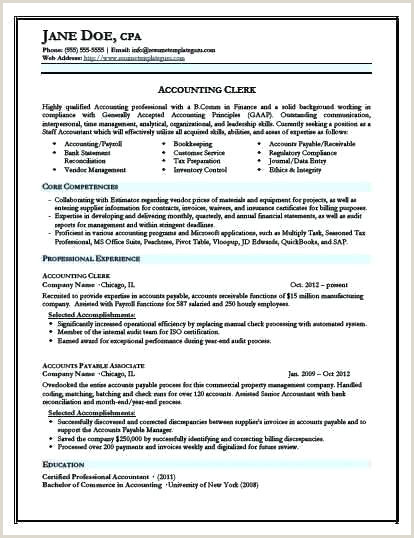 Resume for Accounting Clerk Cpa Resume Template