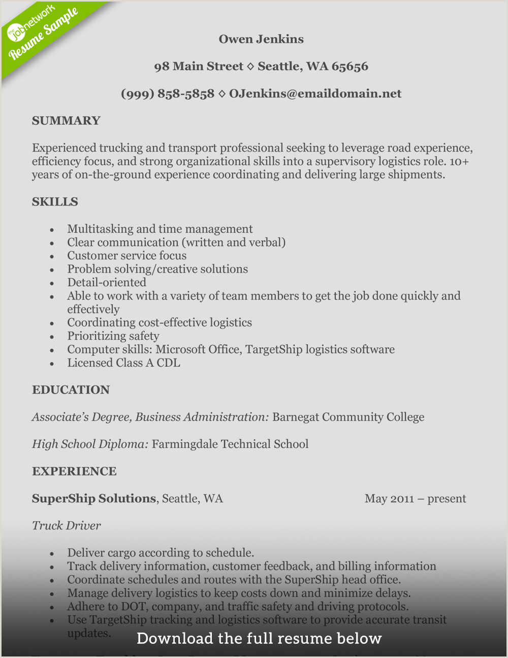 Part 3 Resume Format Examples