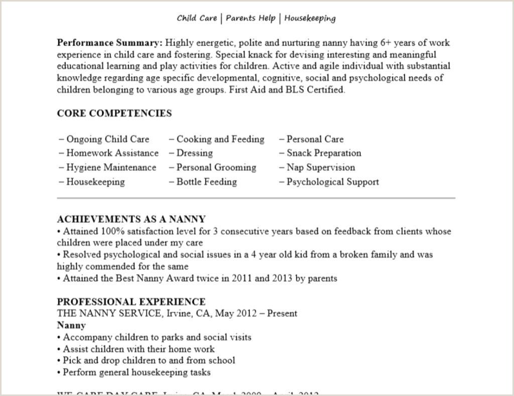 Professional Nanny Cover Letter Awesome Nanny Cover Letter