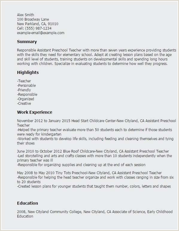 Resume for Child Care Teacher Best Child Care Teacher Resume Sample