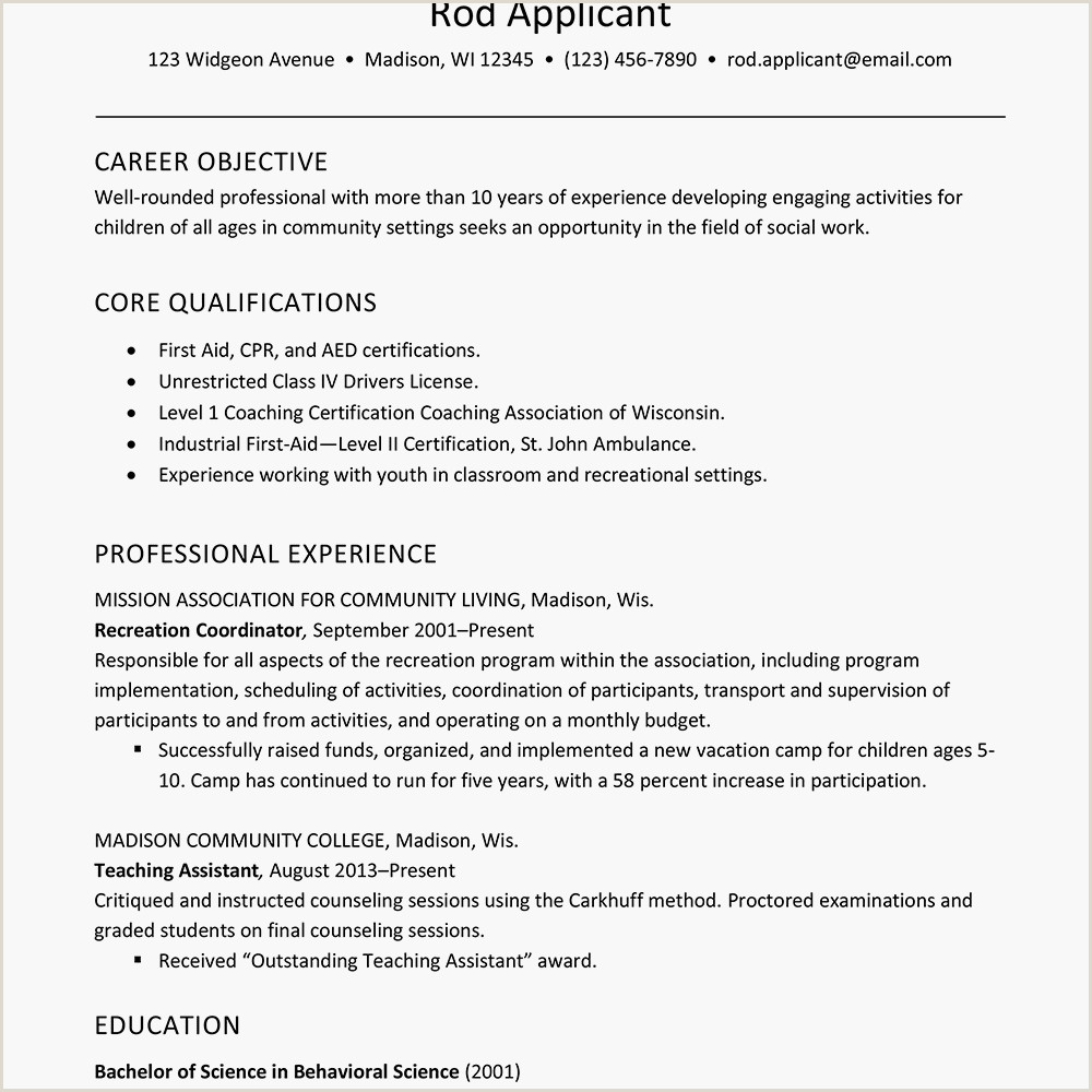 Resume for Child Care Teacher Resume Example for Childcare social Services Worker