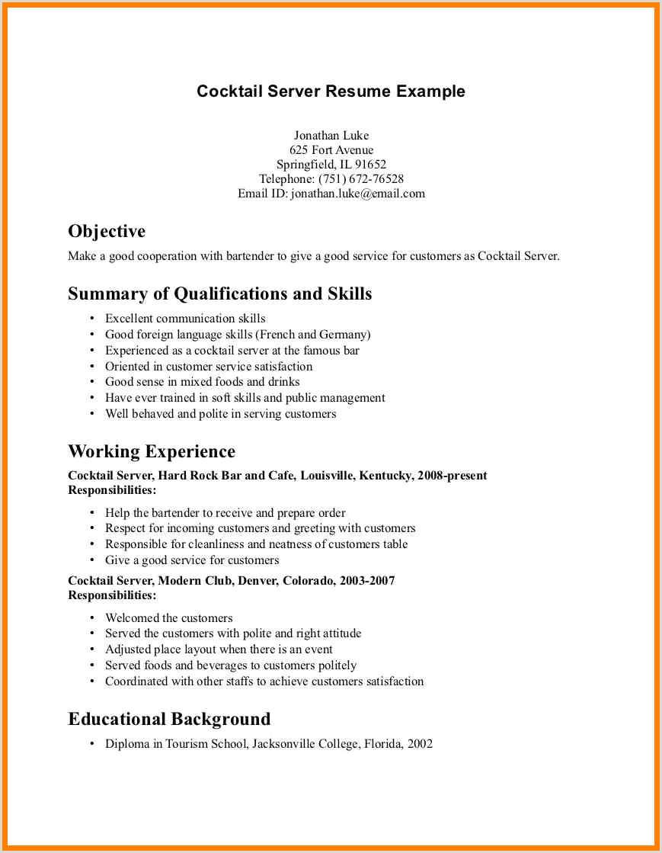 Resume for Cocktail Waitress Good Server Resume Kadilrpentersdaughter