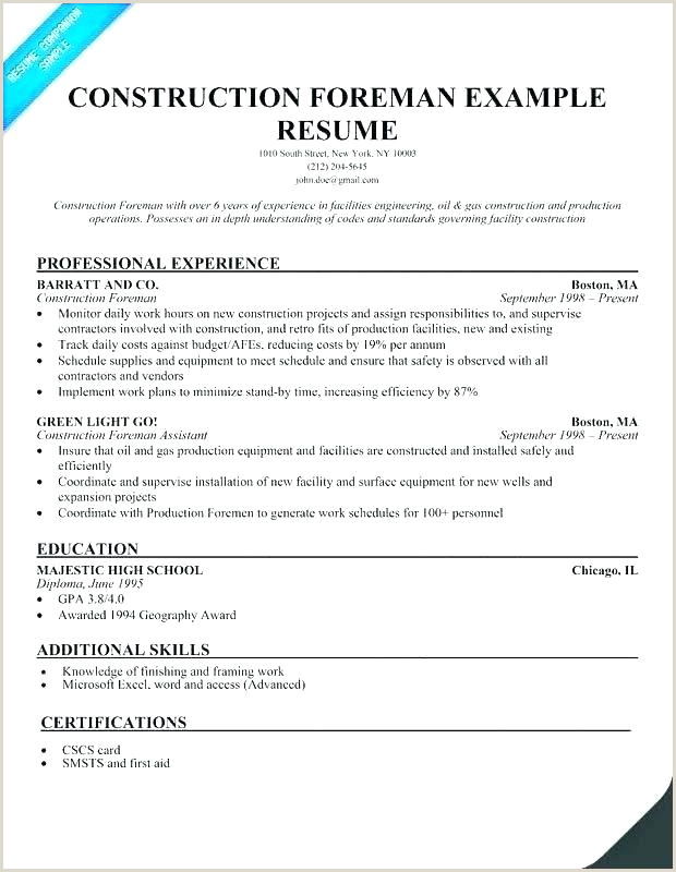 Resume for Construction Superintendent Construction Superintendent Resume Templates – Growthnotes