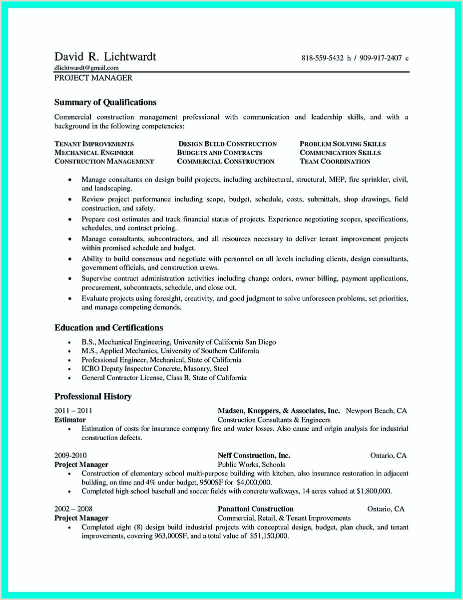 nice Simple Construction Superintendent Resume Example to