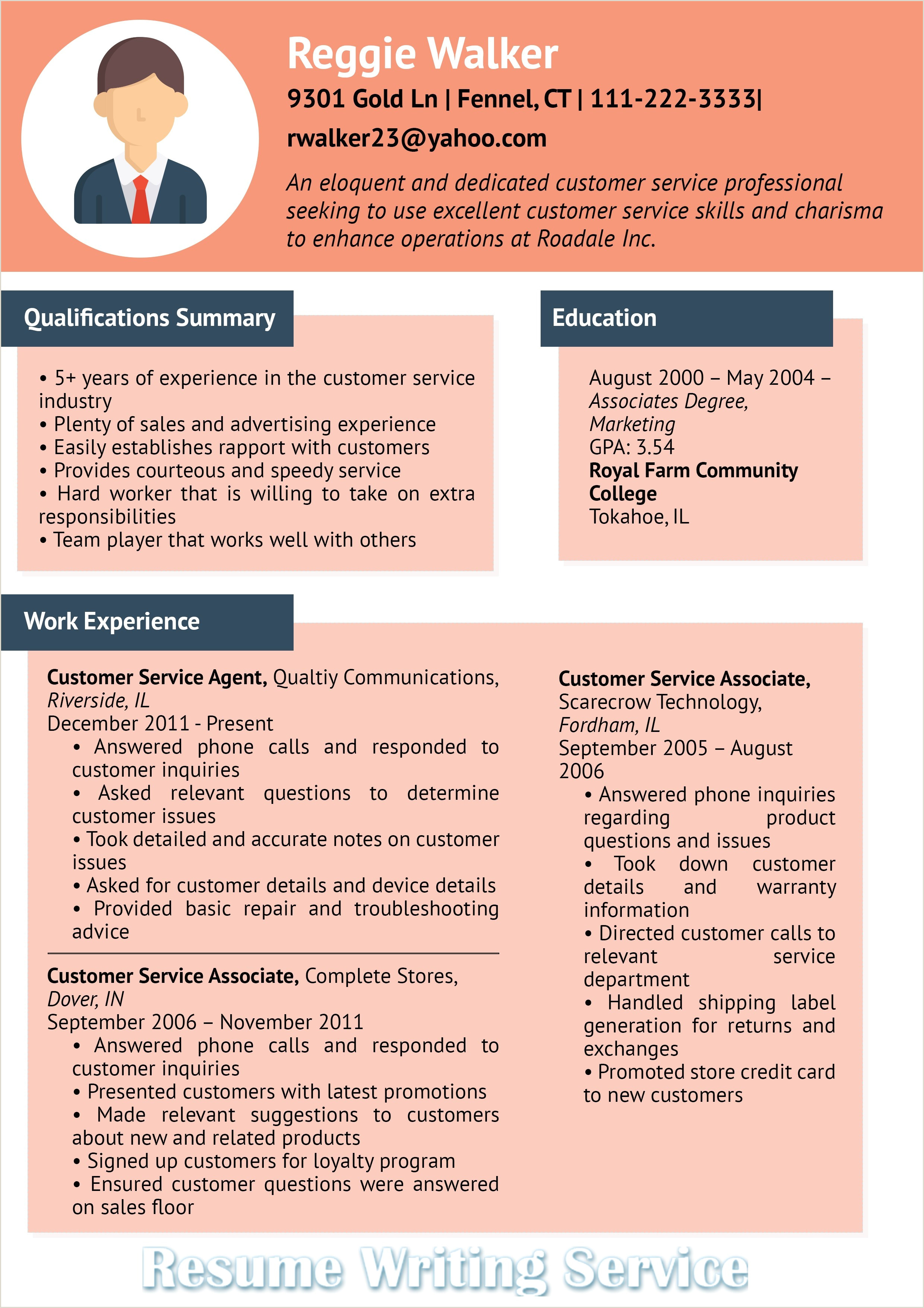Resume for Customer Service and Sales Customer Service Infographic – Professional Resume Writing