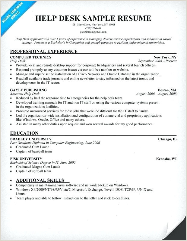 Resume For Desktop Support Technician Puter Help Desk Resume – Fredrongo