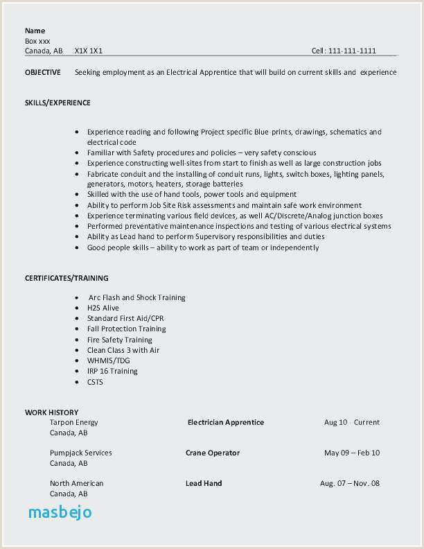 Resume for Electrical Apprenticeship Electrician Resume Sample Best Electrician Resume Sample
