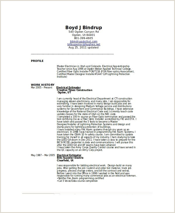 Electrician Resume Template Microsoft Word – apprentice