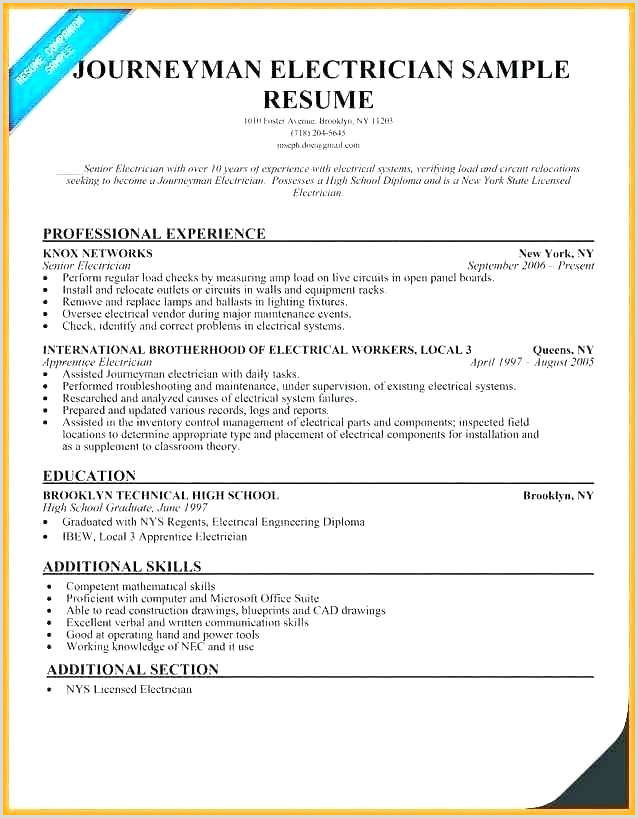 Resume for Electrical Apprenticeship Electrician Sample Resume Free Sample Electrician Resume