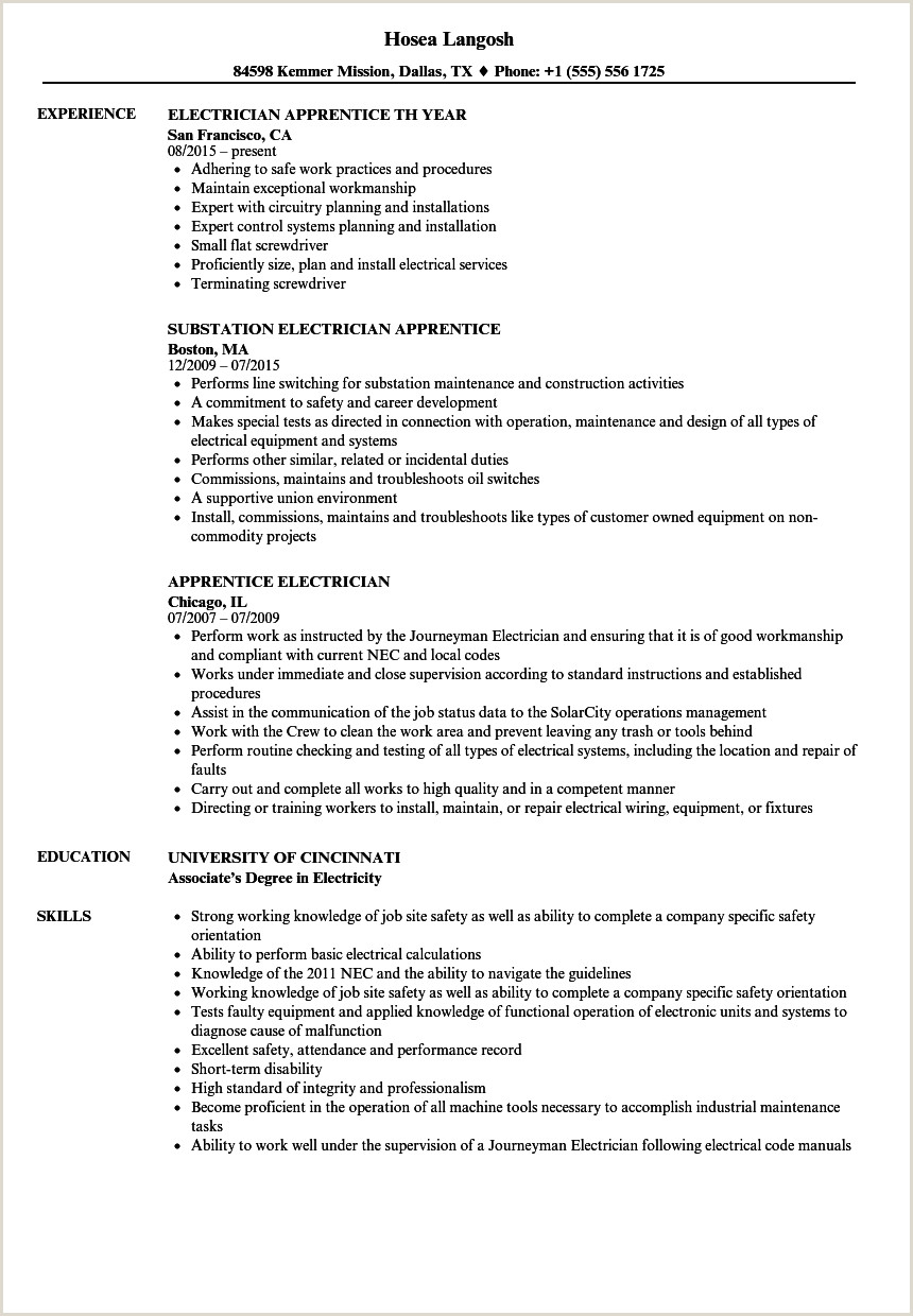 Resume for Electrical Apprenticeship Electricians Resume Example Jamesnewbybaritone Proposal Sample