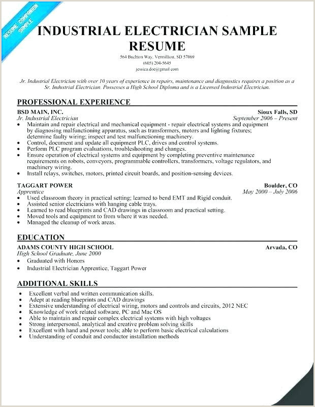 Resume for Electrical Apprenticeship Resume Template for Electrician Journeyman Electrician