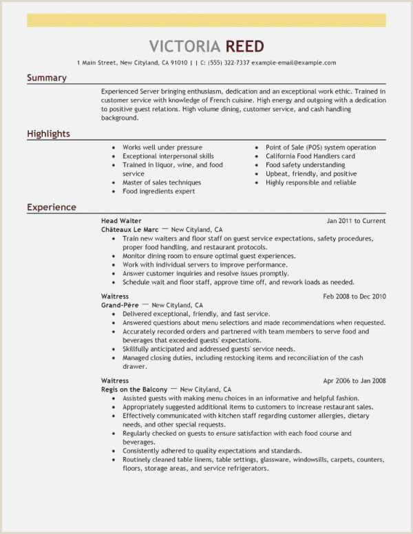 Resume for Food Service Free Collection 59 Server Resume Model