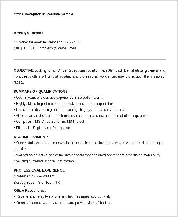 Resume for Front Desk Receptionist Medical Receptionist Resume Cover Letter
