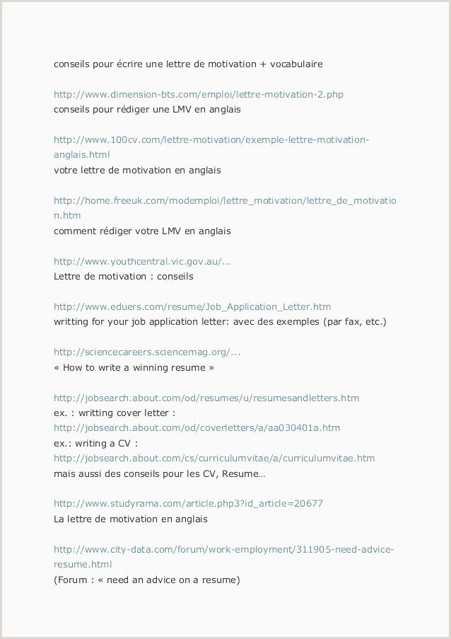 Resume for Government Job Cv Et Lettre De Motivation En Anglais Cv Et Lettre De