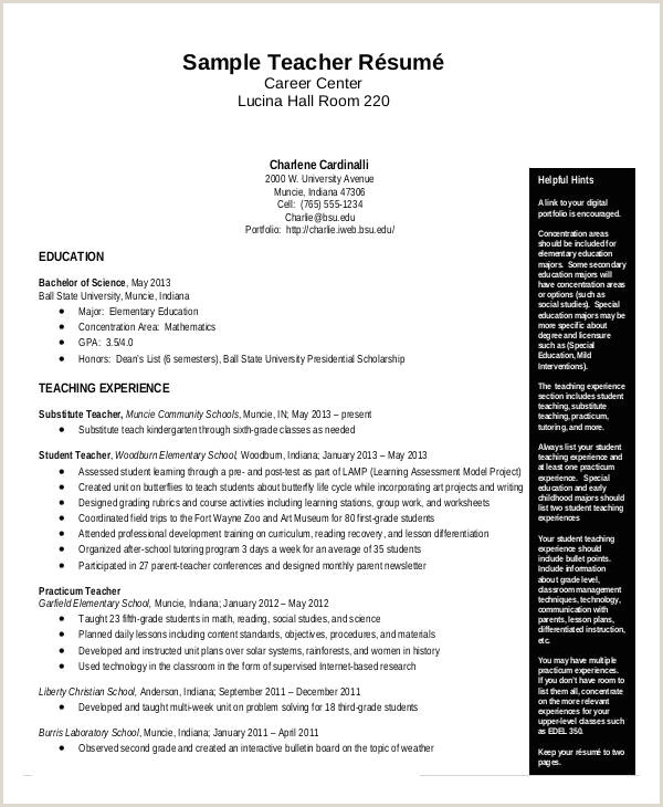 Resume for Maths Teacher 10 Elementary Teacher Resume Examples 2013