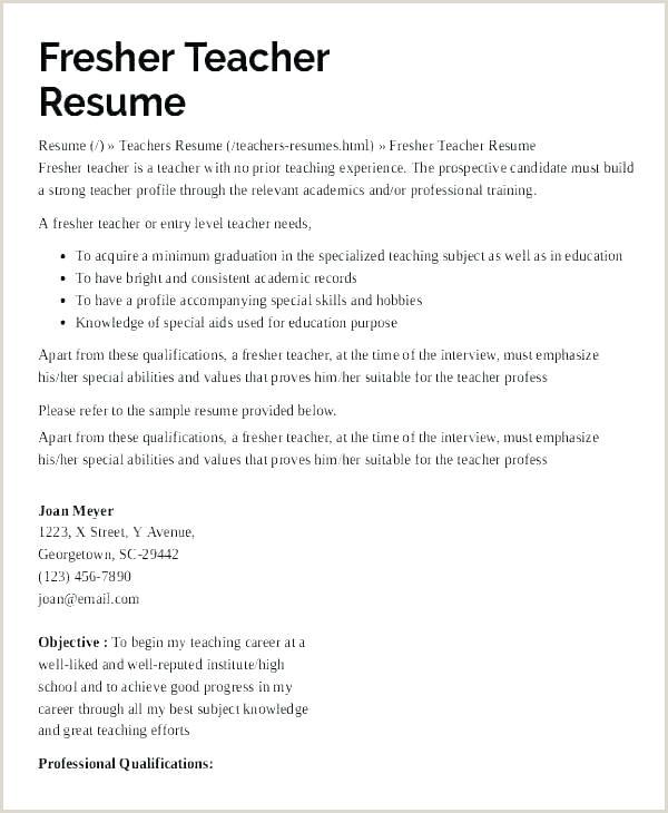 Resume for Preschool Teachers Preschool Teacher Resume Examples