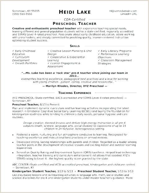 preschool teacher resume examples