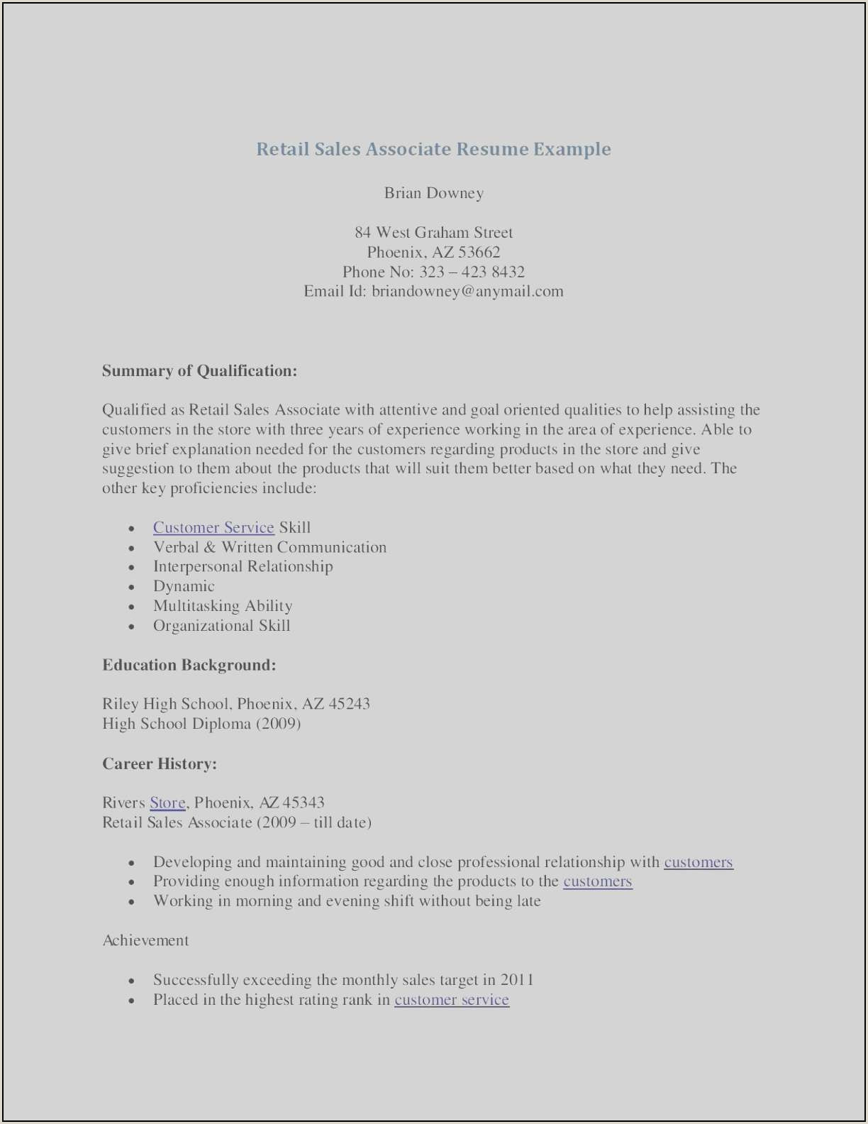 Resume for Retail associate 8 Resume Template Retail Sales Ideas