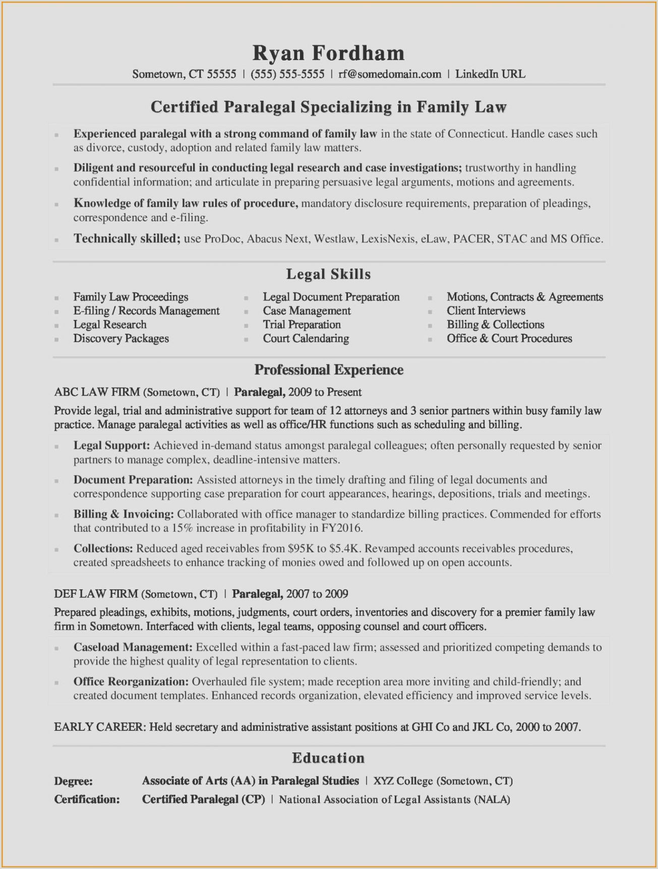 Resume for Secretary Cover Letter for Divorce Papers Best Law Enforcement