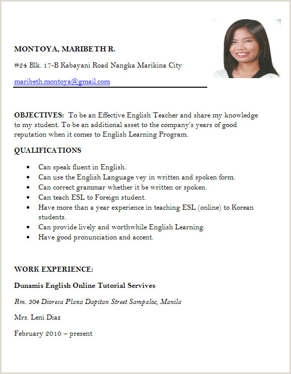 Resume for Teaching Job Fresher Resume format for Freshers Job Application Letter Sample for
