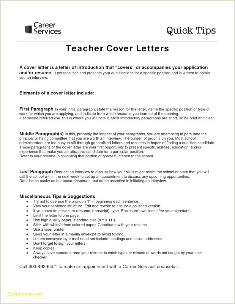Teacher Resume Cover Letter New For Fresher Job Application