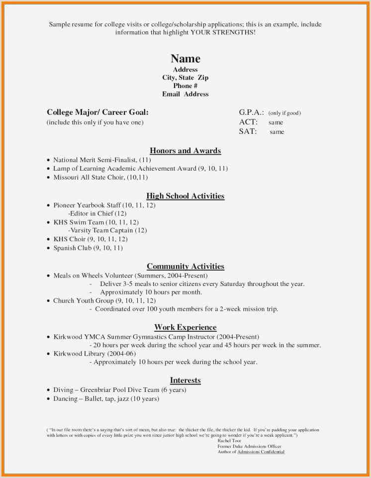 5 high school scholarship resume template