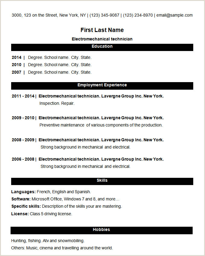 Resume Format Download In Ms Word For Fresher 70 Basic Resume Templates Pdf Doc Psd