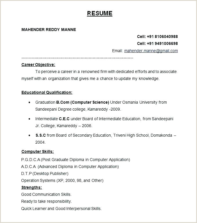 Resume format Download In Ms Word for Fresher Cv Draft Template – Woodnartstudio