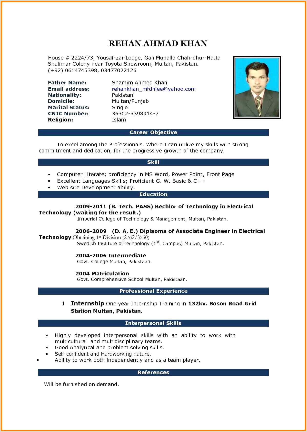 Resume Format Download In Ms Word For Fresher Resume Format Download In Ms Word 2013