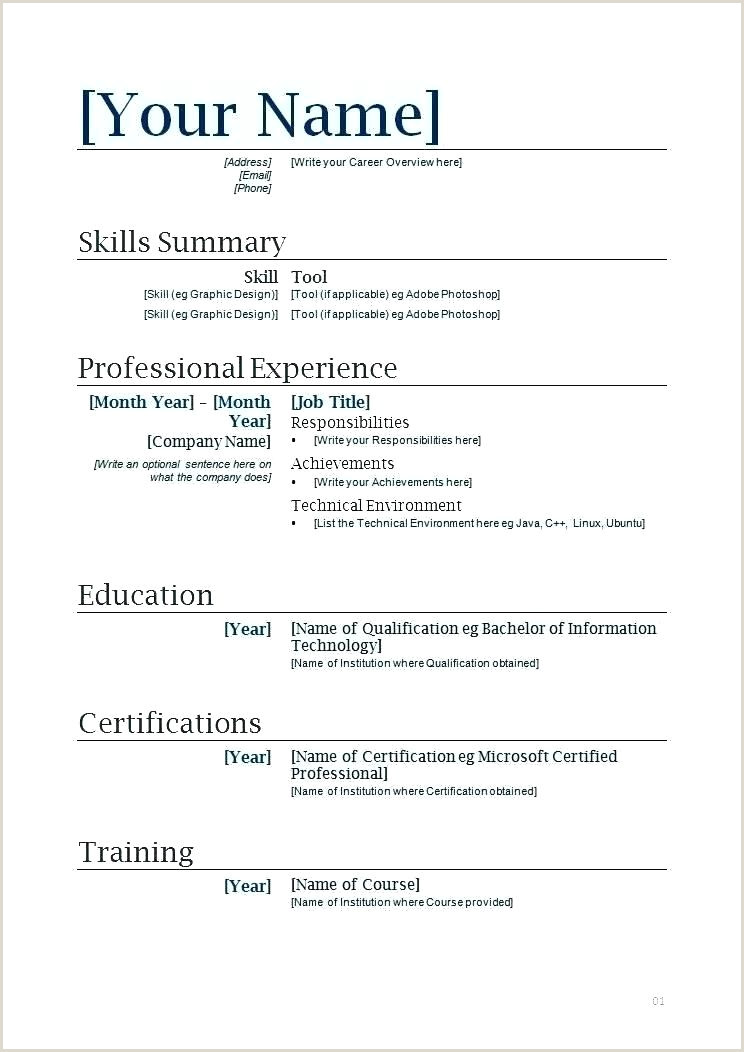 Resume format Examples for Job Pdf Cv Template Pdf
