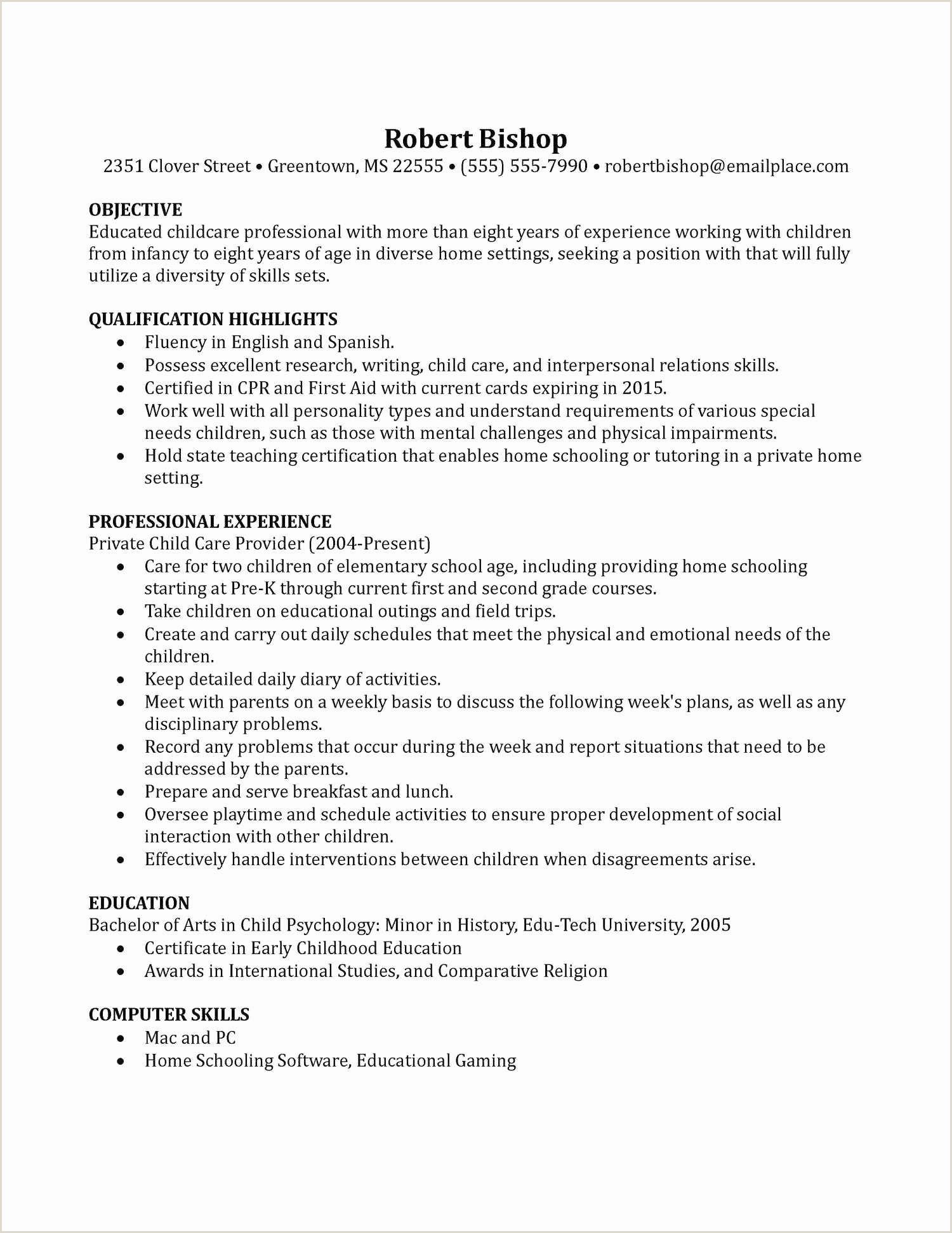 Resume format for 2015 Nanny Resume Template Nanny Resume Sample Examples Sample