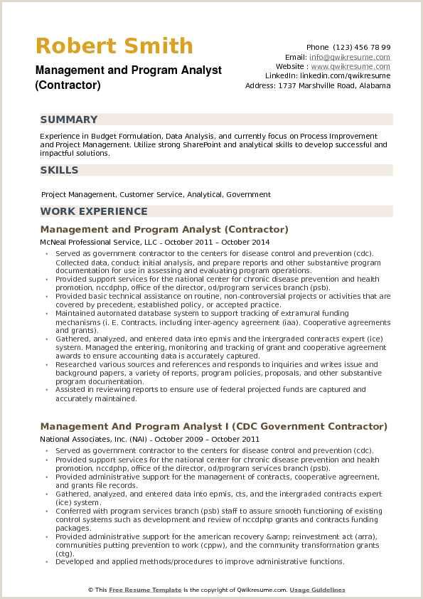 Management and Program Analyst Resume Samples