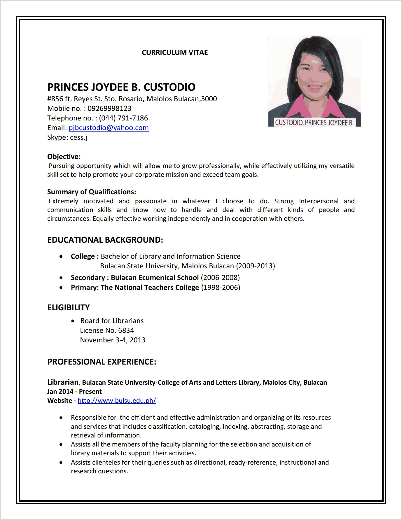 Resume format for Applying Job Abroad Application Letter for Jobs Abroad Resume format Applying