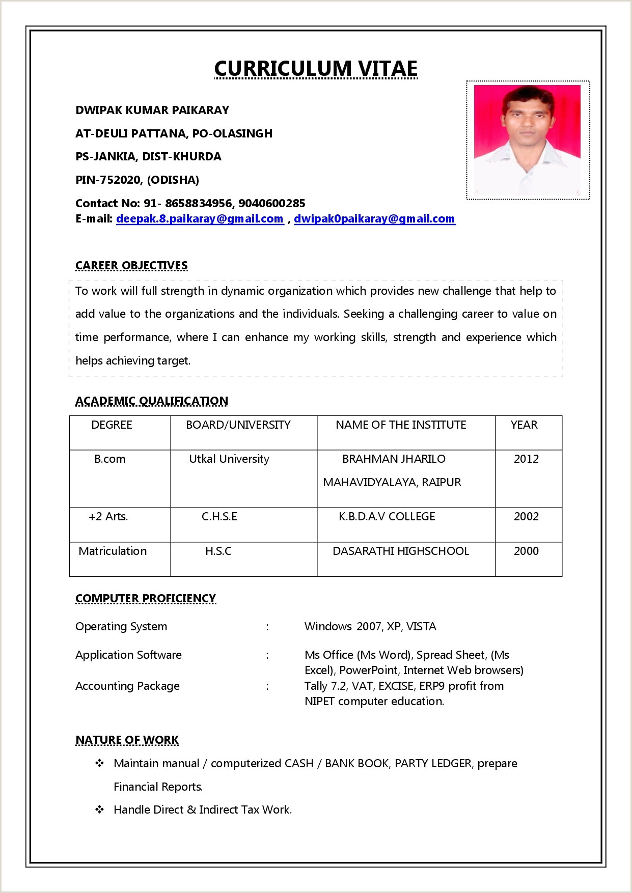 Resume format for Bank Job Fresher Pdf 10 Sample Resume for Banking Jobs