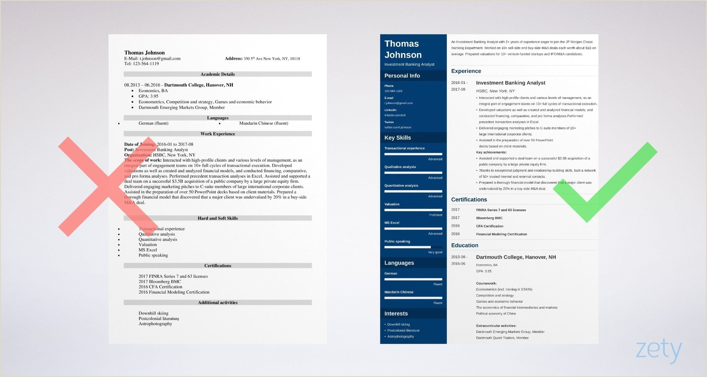 Resume format for Bank Job Fresher Pdf Investment Banking Resume Sample and Writing Guide [20