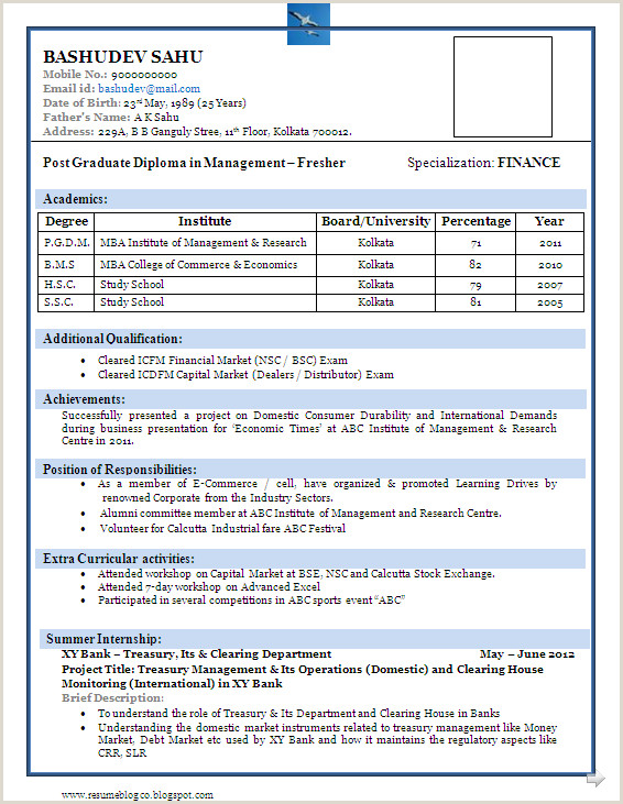 Resume format for Bank Job Fresher Pdf Resume format for Freshers Pdf