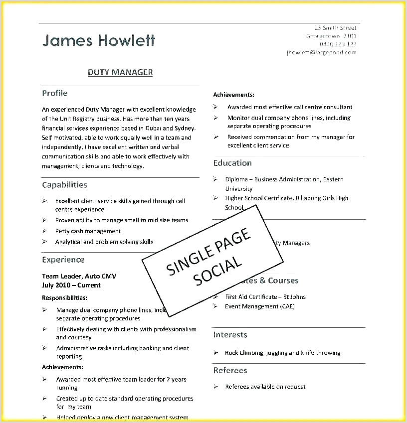 1 Page Resume Template Word Single Pdf Two e Free For Freshers