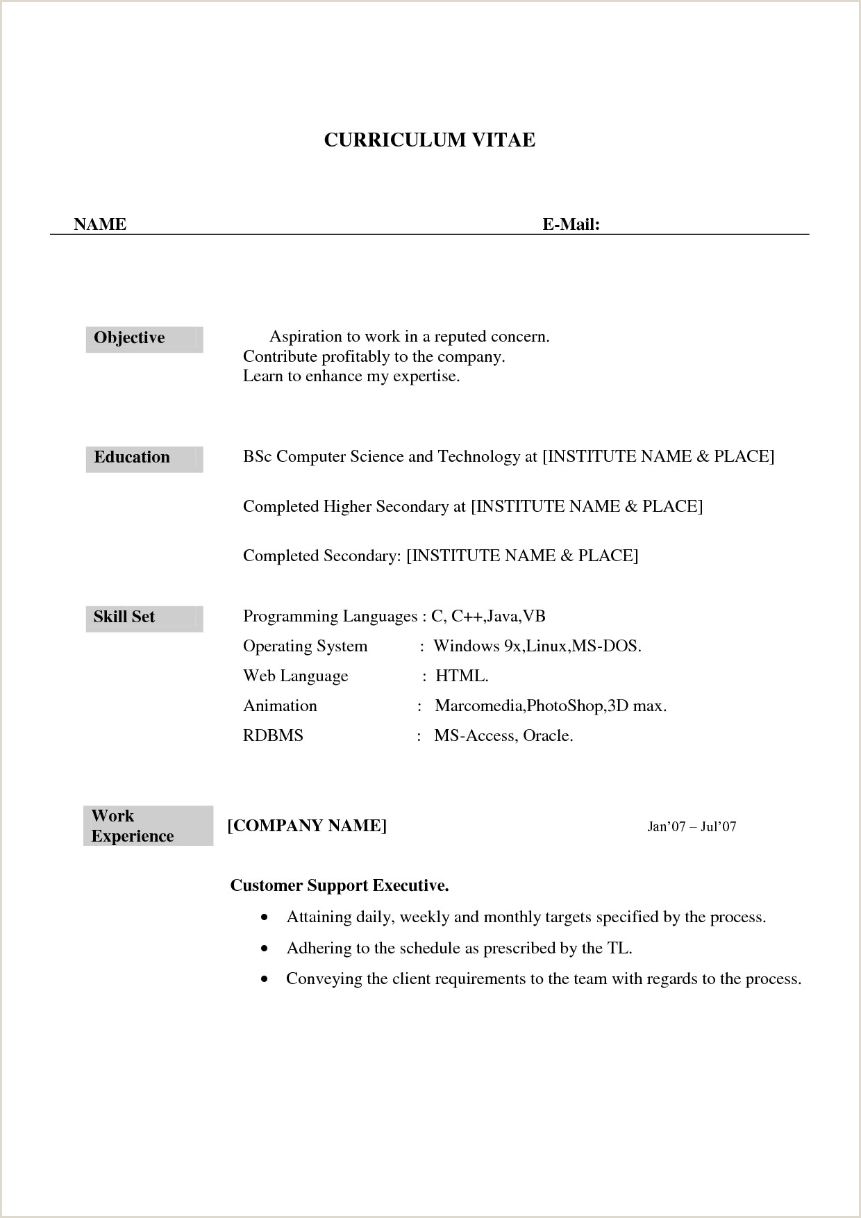 Resume format for Call Center Job Fresher Pdf Pin by Sarala Rajgopal On Job