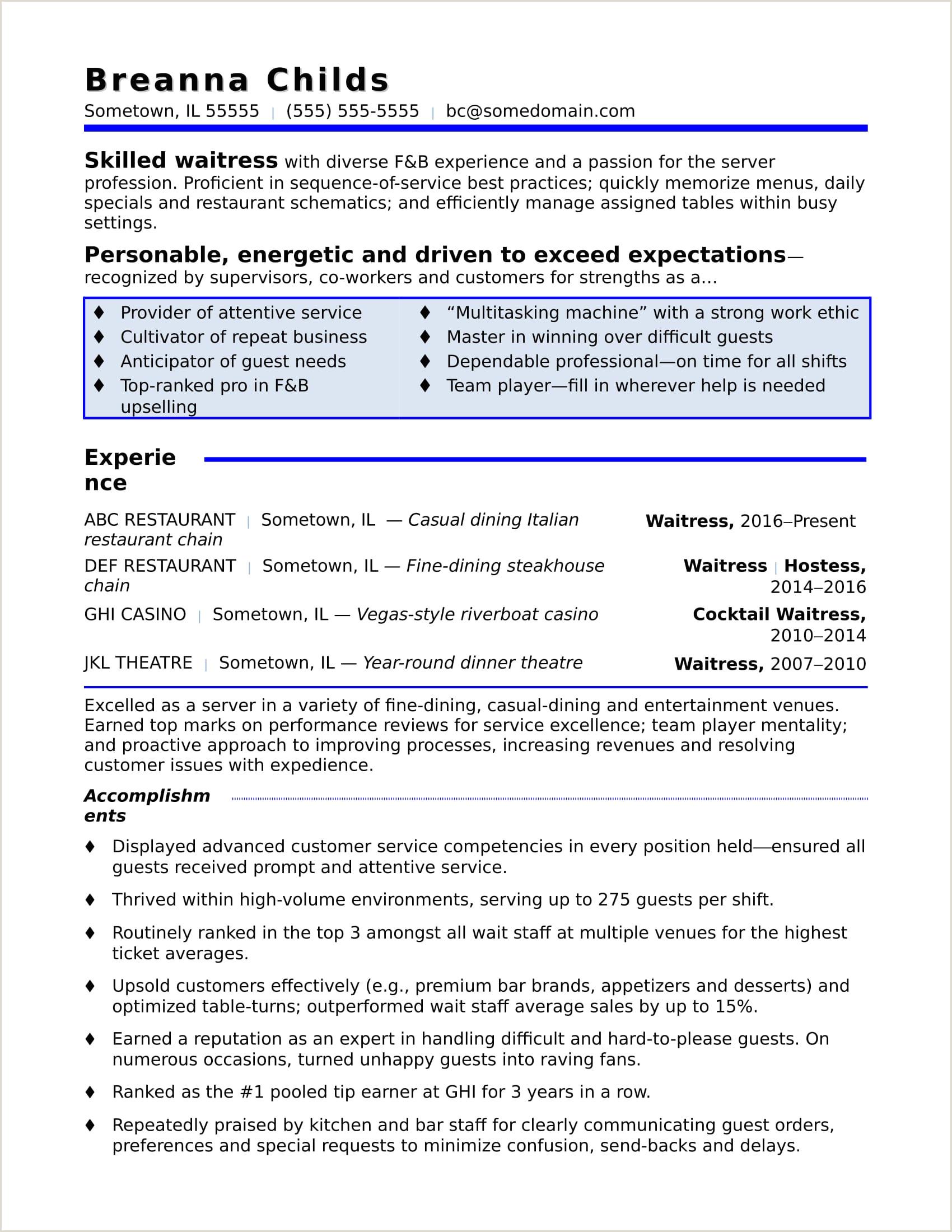 Resume format for Canada Job Waitress Resume Sample