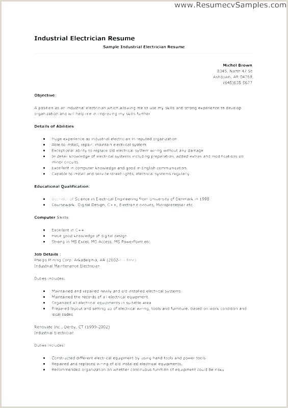 Resume format for Electrician Job Apprentice Electrician Resume Samples Lovely Resumes for