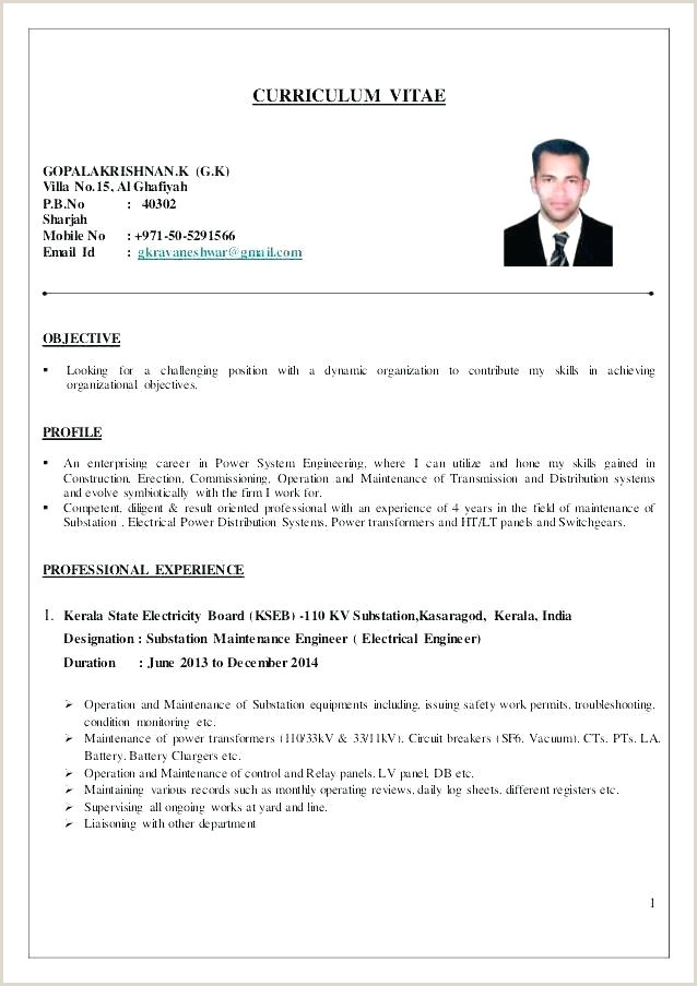 Resume format for Electrician Job Electrical Maintenance Pdf