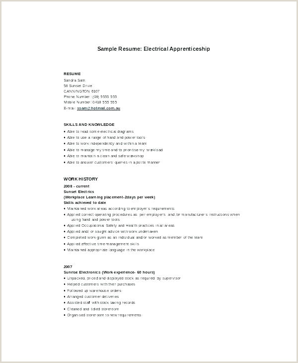 Resume format for Electrician Job Electrician Resume Template Apprentice Sample Industrial